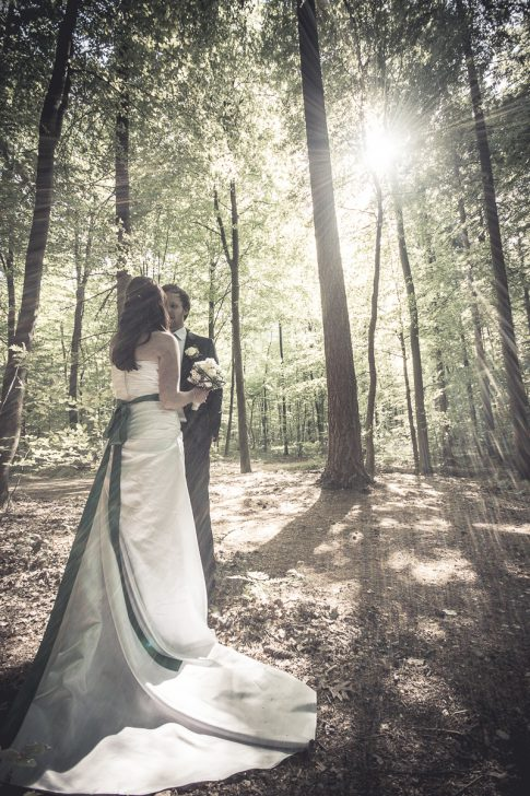 Brautpaar in Wald mit Sonne in Rastede in Niedersachsen